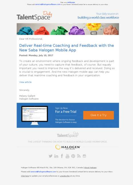 TalentSpace Daily: Deliver Real-time Coaching and Feedback with the New Saba Halogen Mobile App